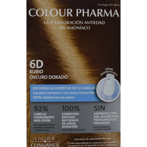 6 D RUBIO OSCURO DORADO COLORACIÓN ANTIEDAD COLOUR PHARMA