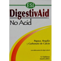 DIGESTIVAID NO ACID 12 TABLETAS MASTICABLES ESI