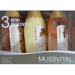PACK 3 MINI GEL BAÑO, CHAMPÚ Y BODY MILK 3 X 100 ML MUSSVITAL