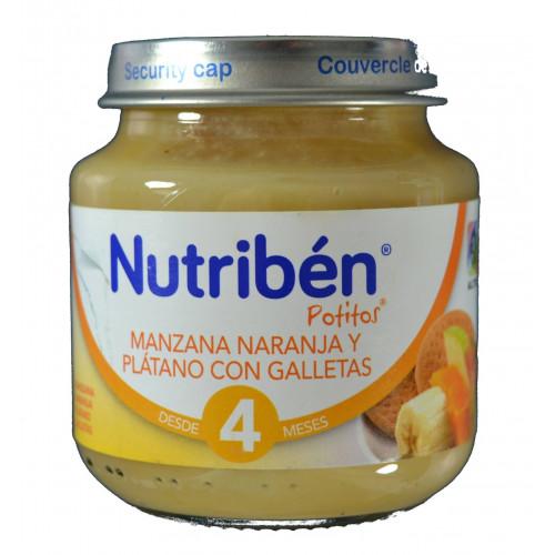 MANZANA, NARANJA Y PLÁTANO CON GALLETAS 130 G NUTRIBÉN