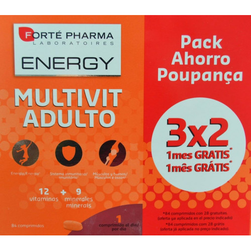 MULTIVIT ADULTO ENERGY PACK AHORRO 84 COMPRIMIDOS + 28 GRATUITAS FORTÉ PHARMA