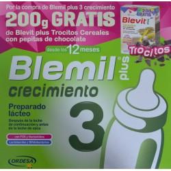BLEMIL PLUS CRECIMIENTO 3 DESDE LOS 12 MESES 800 G + 200 G DE BLEVIT PLUS TROCITOS CEREALES CON PEPITAS DE CHOCOLATE ORDESA