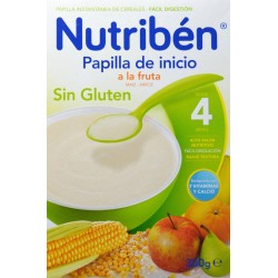 PAPILLA DE INICIO A LA FRUTA SIN GLUTEN 4 MESES 300 G NUTRIBÉN