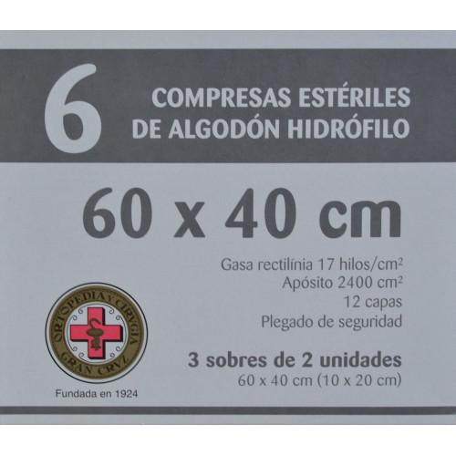 COMPRESAS ESTÉRILES DE ALGODÓN HIDRÓFILO 60 X 40 CM 6 UNIDADES ORTOPEDIA Y CIRUGÍA