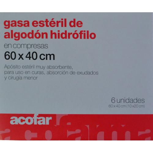 GASA ESTÉRIL DE ALGODÓN HIDRÓFILO EN COMPRESAS 6 UNIDADES 60 X 40 CM ACOFAR