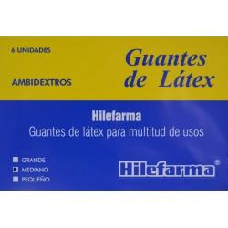 GUANTES DE LÁTEX MEDIANOS 6 UNIDADES HILEFARMA