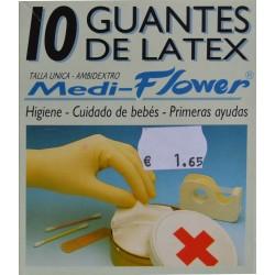 GUANTES DE LÁTEX TALLA ÚNICA 10 UNIDADES MEDI-FLOWER