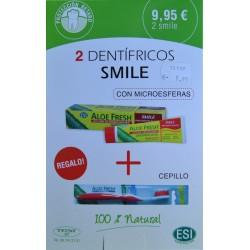 ALOE FRESH EFECTO BLANQUEADOR 2 DENTÍFRICOS SMILE CON MICROESFERAS + CEPILLO REGALO ESI