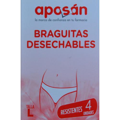 BRAGUITAS DESECHABLES RESISTENTES TALLA L 4 UNIDADES APOSÁN