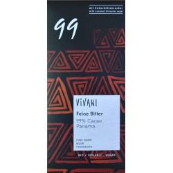 CHOCOLATE NEGRO ECOLÓGICO 99% CACAO PANAMA 80 G VIVANI