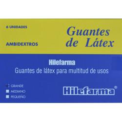 GUANTES DE LÁTEX AMBIDEXTROS TALLA G 6 UNIDADES HILEFARMA