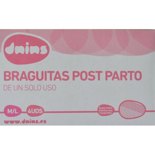 BRAGUITAS POST PARTO DE UN SOLO USO M/L 4 UDS DNINS