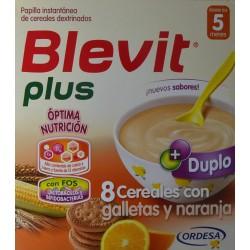 BLEVIT PLUS 8 CEREALES CON GALLETAS Y NARANJA DESDE LOS 5 MESES (2 X 300 G) ORDESA